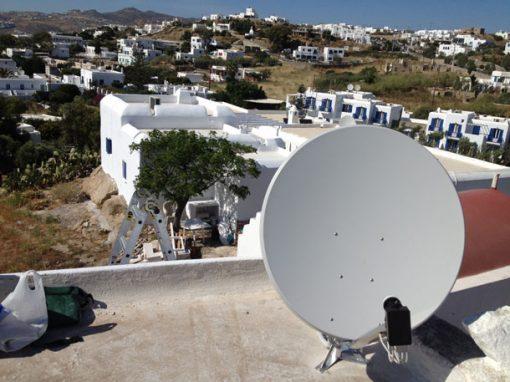 Εγκατάσταση Δορυφορικών Συστημάτων σε Ξενοδοχείο Υπό Κατασκευή στη Μύκονο
