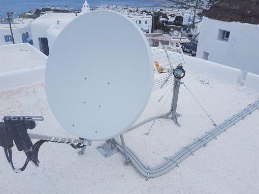 """Τοποθέτηση Δορυφορικών Συστημάτων στο Ξενοδοχείο """"Golden Star"""" στην Μύκονο"""